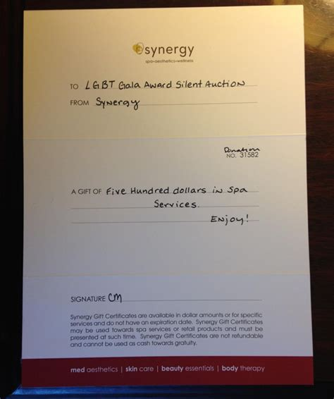 Synergy Gift Card - gala silent auction lgbt center of raleigh