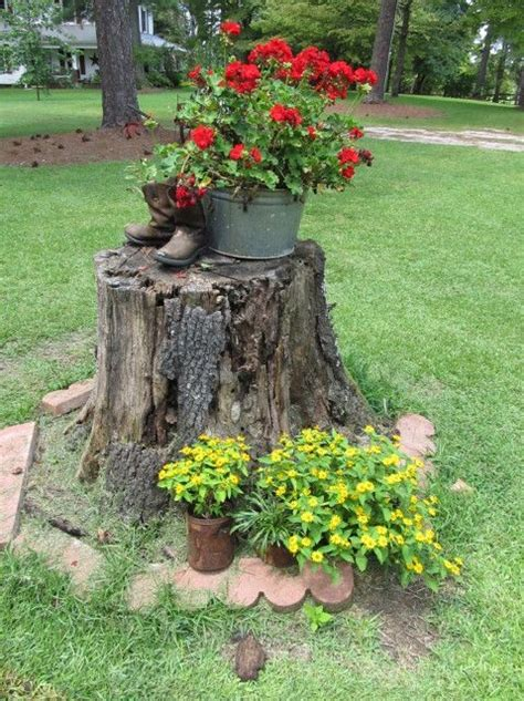 Decorating A Tree Stump by Decorating A Tree Stump With Flowers And Yard Just