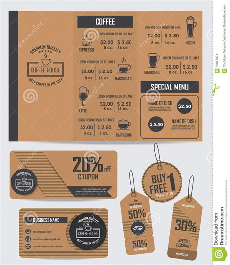 Set Of Coffee Shop Elements Stock Vector Image 59867374 Coffee Shop Gift Certificate Template