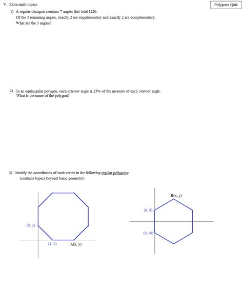 Polygons Exterior And Interior Angles by Math Plane Polygons