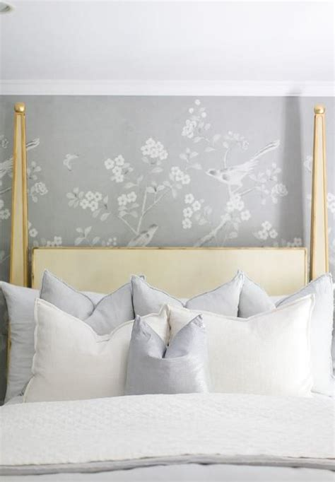 white and gold headboard gold 4 canopy bed with gray chinoiserie wallpaper
