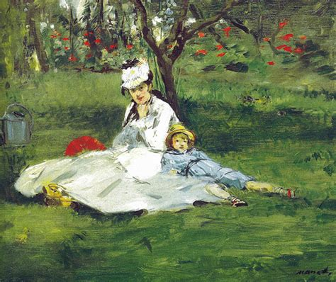 the monet family in their garden at argenteuil edouard manet the monet family in their garden at