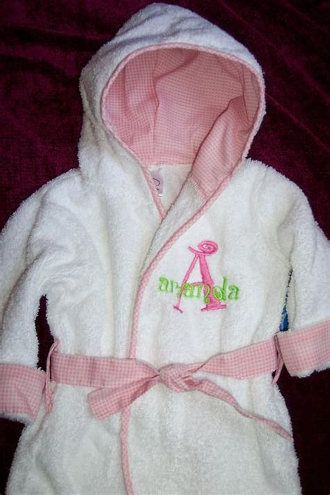 personalized pink trimmed baby bath robe with by