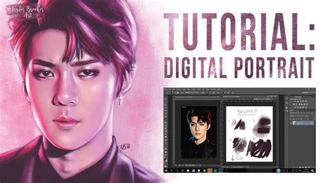 tutorial video digital tutorial painting a digital portrait sehun exo speed