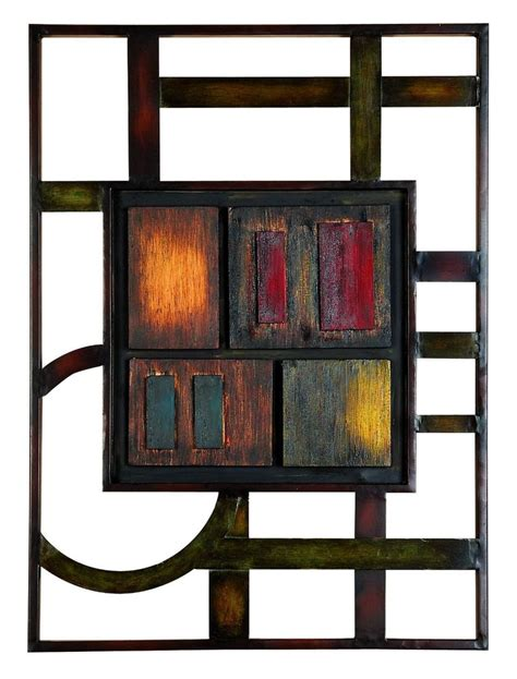 metal wall brown modern abstract plaque kitchen accent
