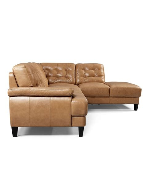 Find Upholstery Shops English Tan Leather Sectional Low Profile Clean Lines