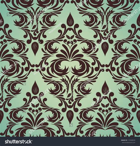 brown green pattern seamless damask pattern in brown and green colors stock