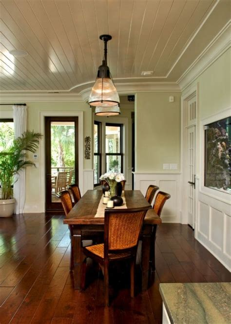 tropical dining wall color new colors for kitchen walls light green walls bead board ceilings dark wood tables
