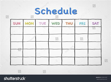 schedule grid template freehand pen doodle sketch drawing of blank monthly grid