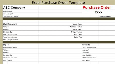 excel purchase order template free projectmanagersinn