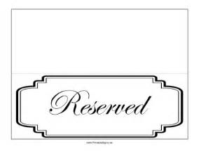 reserved seating signs template printable reserved table sign sign