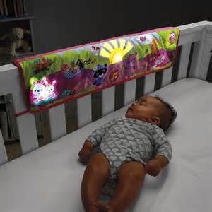 woodland friends twinkling lights crib rail soother pink