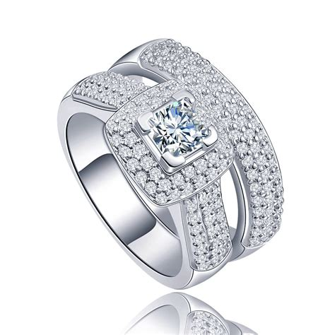 pave halo high quality aaa cz platinum plated