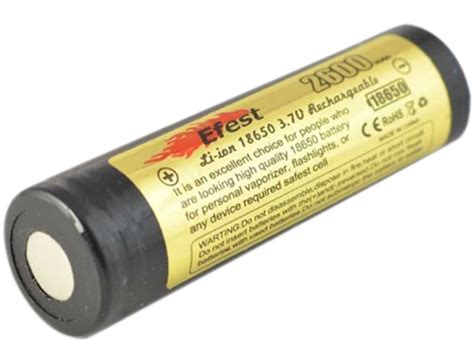 Efest 18650 Li Ion Unprotected Battery 3 7v With Flat Top efest 3562 18650 2600mah 3 7v unprotected lithium ion li ion flat top battery boxed