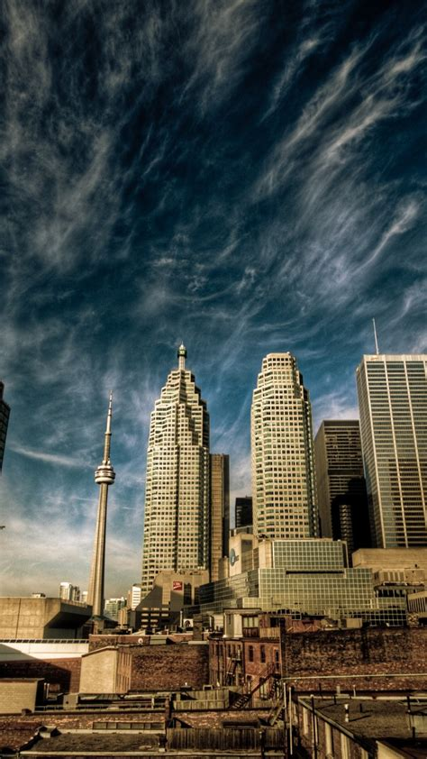 wallpaper toronto canada downtown sky clouds travel
