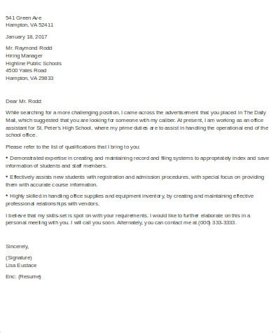 sle cover letter for office assistant 9 exles in