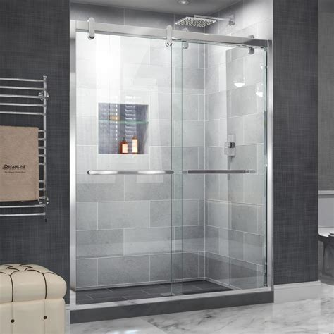 Sliding Glass Doors Shower Shop Dreamline Cavalier 56 In To 60 In Frameless Polished Stainless Steel Sliding Shower Door At