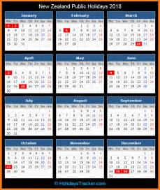 Calendar 2018 Holidays Nz New Zealand Holidays 2018 Holidays Tracker