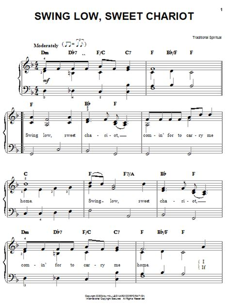 swing piano swing low sweet chariot sheet music direct