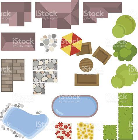 Floor Plans Symbols landscape elements top view house garden tree lakeswimming