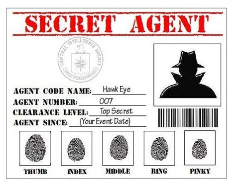 Secret Card Template by Secret Detective Cia Printable Id Card