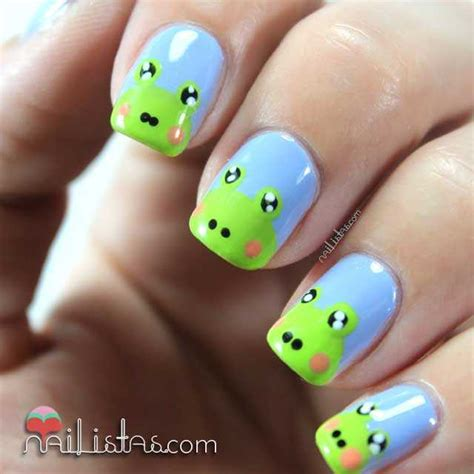 imagenes uñas decoradas verdes u 241 as decoradas con ranas nail art de animales