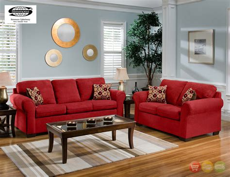 furniture living room set cabot red microfiber sofa love seat casual living room