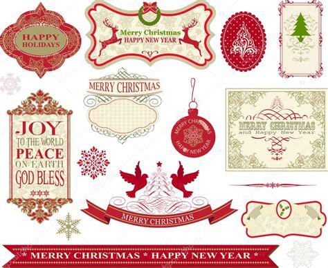 set van vintage prettige kerstdagen en gelukkig nieuwjaar
