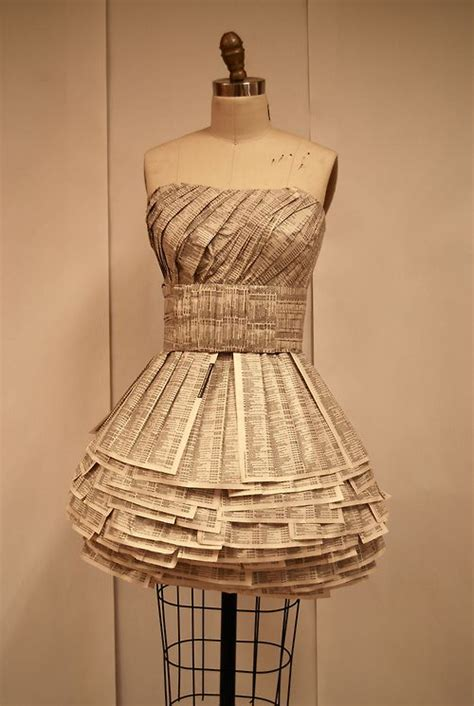 Clothes Out Of Paper - dress made out of phone book paper paper