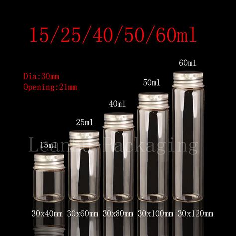 Botol Kaca 40 Ml 1 15ml 25ml 40ml 50ml 60ml neck glass bottle with aluminum cap glass container with lid