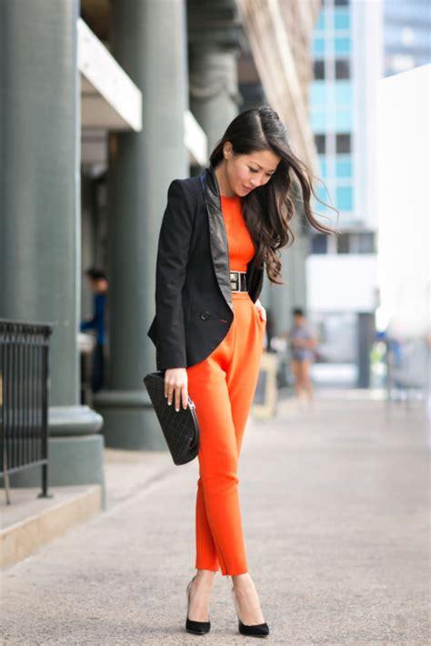 suiting  orange jumpsuit sharp blazer wendys