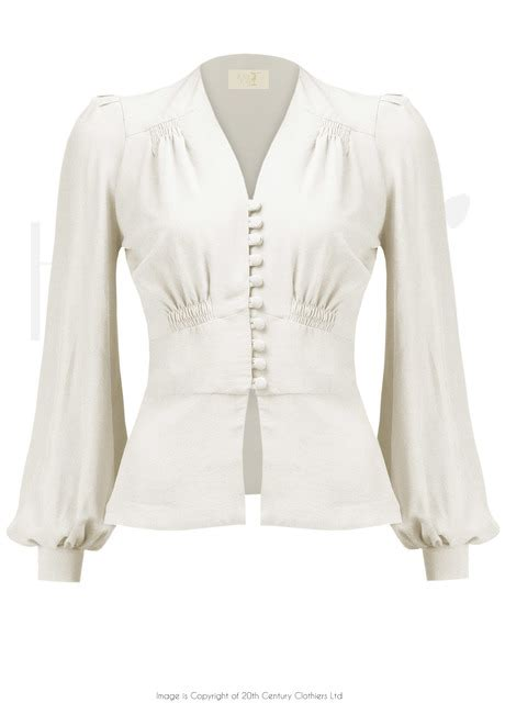 Blouse By Elsire 1930s style elsie button blouse ivory crepe