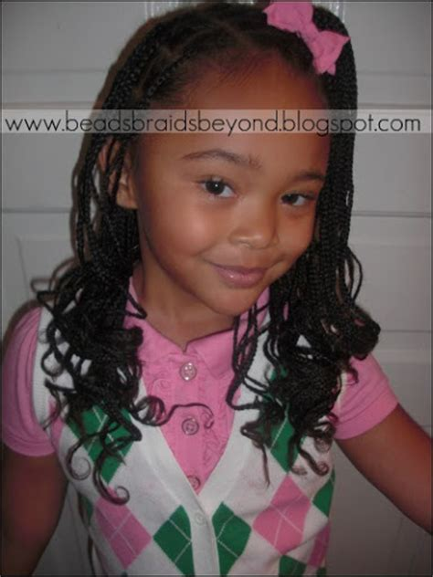 kids scalp braids with loose ends beads braids and beyond small box braids curled with