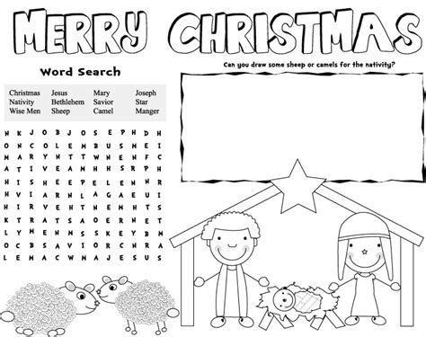 Free Printable Christmas Table Games | christmas placemats free printable christmas games