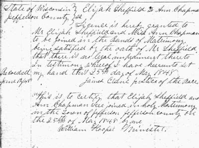 Milwaukee County Marriage License Records Elijah Sheffield 1821 1901 Wikitree Free Family Tree