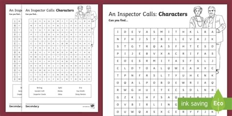 an inspector calls themes word search an inspector calls character word search an inspector calls