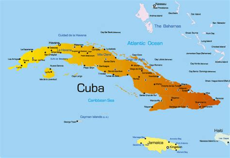 map us and cuba cuba map showing attractions accommodation
