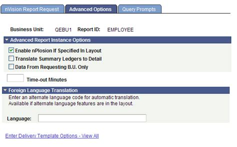 nvision layout definition setting up report requests