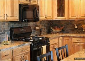Kitchen Backsplash Ideas With Oak Cabinets by Granite Countertop Oak Kitchen Cabinets Slate Backsplash