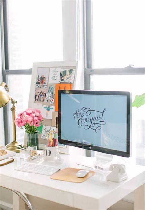 Office Desk Decorations Small Girly Workspace Ideas