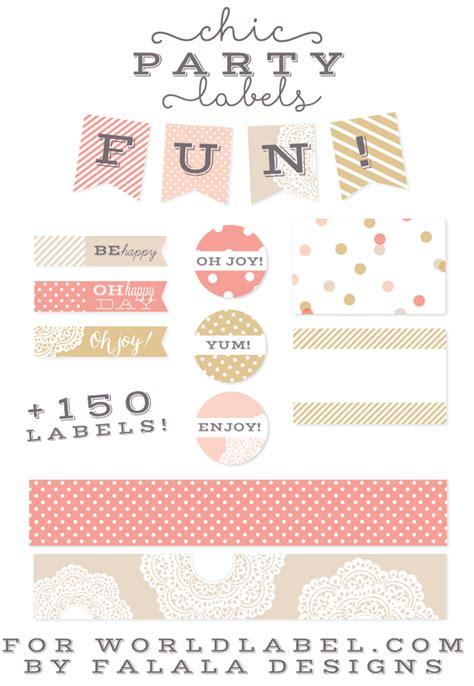 chic party label printables  falala designs worldlabel blog