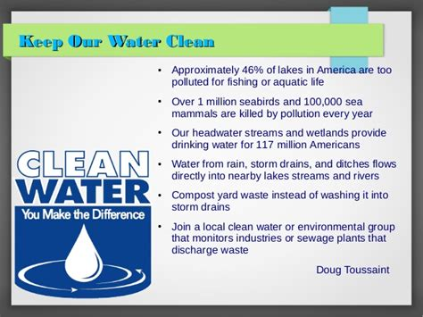 keep our water clean
