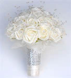 Wedding Flowers Buttonholes - brides ivory rose amp crystal wedding bouquet with diamante