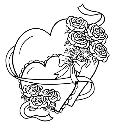 printable coloring pages of roses and hearts hearts drawings clipart best