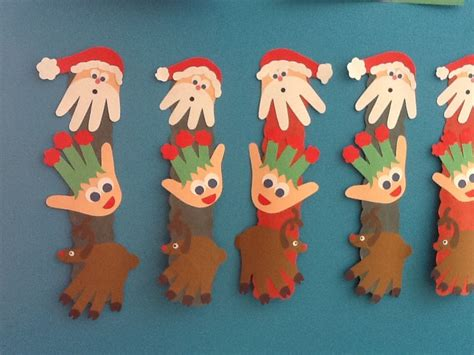 santa elf and reindeer handprint christmas craft infant