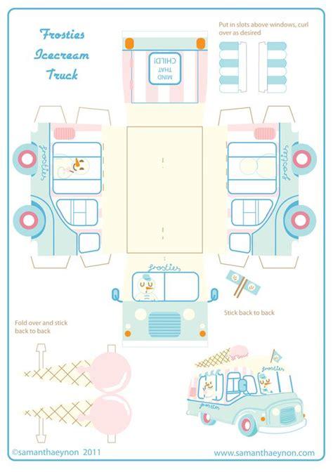 free printable ice cream truck free kawaii papercraft