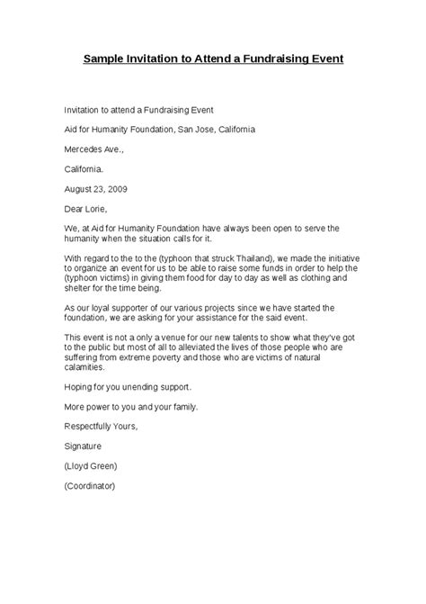 invitation letter sle for charity event sle invitation to attend a fundraising event hashdoc