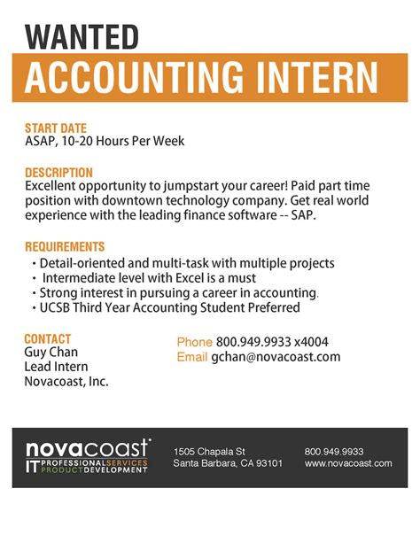 Accounting Internship Cover Letter Exles No Experience Novocoast Wanted Accounting Intern Santa Barbara Career Connection