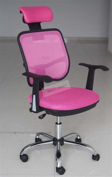 New Adjustable Chrome Executive Office Computer Desk Chair Pink Desk Chair