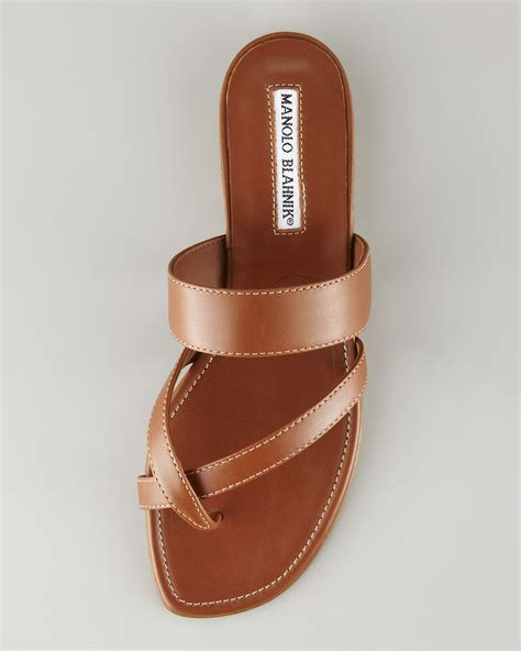 matte tan lyst manolo blahnik susa leather flat sandal tan in brown